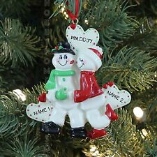 SNOW SWEETHEARTS COUPLE Personalized Christmas Tree Ornament Holiday Gift 2016
