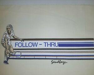 1970's TENNIS FOLLOW THRU T-SHIRT PRINT POSTER VTG RACKET US OPEN ATP Shoe Art