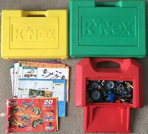 KNEX Assorted 3+ LBs + Green / Red / Yellow Hard Carrying Cases + Manuals