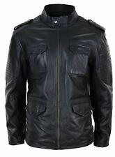Mens Real Leather Military Safari Jacket Zip Parker Smart Casual Classic Black