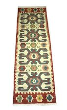 2'x 6' Wool Cotton Afghan Runner Handmade Vintage Beautiful Novice Rug
