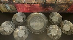 7 Princess House Fantasia Dessert Bread Salad Plates Embossed Frosted Poinsettia