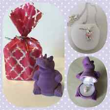 NEW Hippopotamus Crystal Necklace in Purple Hippo Gift Box