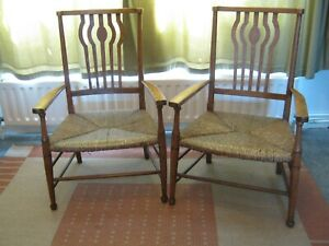 DELIGHTFUL PAIR OF COTSWOLD SCHOOL RUSH SEATED LOW CHAIRS