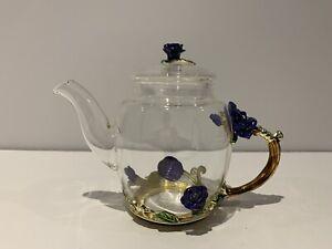 Floatant Glass Teapot-France Enamel Blue Rose Flower Butterfly Heat Resistance