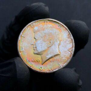 MS64 1964 50C Kennedy Silver Half Dollar, PCGS Secure- Rainbow Toned