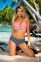 Eleganter Balconette Bikini Self Gr.38-48 Cups C-G (Mod. 770 P10) Neu Rosa-Grau