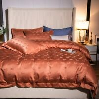 Luxury Egyptian Cotton Embroidery Bedding Set Jacquard Duvet Cover Fitted Sheet