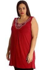 Ladies Top Womens Stud Neck Plain Shirt Cami Sleeveless Plus Size Nouvelle Wine 26-28