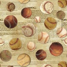 Sports Fabric - Vintage Baseball Toss on Beige Words - Timeless Treasures YARD