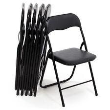 Set di 6 sedie pieghevoli moderne imbottite in metallo colore nero arredo design