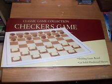 Classic Game Collection Checkers Game Folding Board & Solid Hardwood Movers NEW