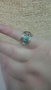 Preloved 925 Sterling Silver Southwestern Turquoise & Coral ring size K/L