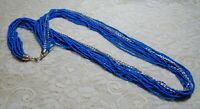 MULTI STRAND DENIM BLUE GLASS SEED BEADED LONG SILVER TONE NECKLACE 34 INCH