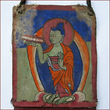 ANTIQUE TIBET TSAKLI TANKHA PAINTING BUDDHA WITH BOOK