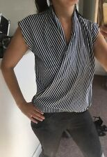 Boohoo Wrap Front Striped Blouse/Shirt/ Top, UK Size 6/8 Blue & White, Worn Once