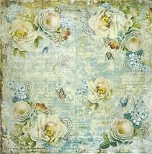 Rice Paper for Decoupage Decopatch Scrapbook Craft Sheet Blue Roses & Butterfly