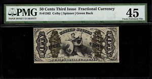 FR-1362 $0.50 Third Issue Fractional Currency - 50 Cents - Graded PMG 45