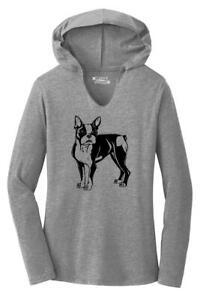 Ladies Boston Terrier Hoodie Shirt Dog Puppy Pet Animal