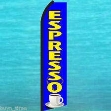 ESPRESSO FLUTTER FEATHER FLAG Swooper Tall Coffee Advertising Sign Bow Banner