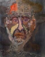 ANNE TELFORD ABSTRACT MODERNIST OUTSIDER FIGURE PORTRAIT STUDY PAINTING