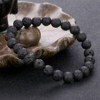Black Natural Lava Stone  Beads Bracelet Unisex Simple Vogue Jewelry Gift