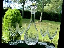 TALL CUT CRYSTAL WINE DECANTER & SET X 4 GLASSES