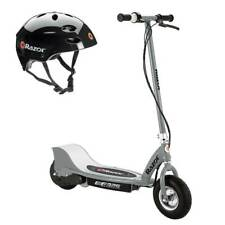 Razor E325 Adult High Torque Electric Powered Scooter with Youth Helmet, Silver