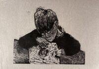 Karl Adser 1912-1995 Holzschnitt Junge beim Basteln Schreiben Malen Kind