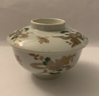 Antique Japanese Brocade Imari Bowl with Lid Porcelain Rice Bowl Hand Painted