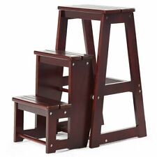 Folding Multi-functional 3-tier Ladder Wood Step Stool