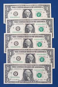 Lot de billets 5 x 1$ dollars Américain, USA 2013