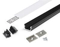 SET Profilo Alluminio UNI12 Nero da Superficie +Tappi + Ganci +Cover Slide