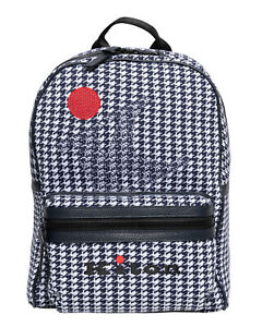 NWT KITON Napoli BACKPACK cotton deerskin blue houndstooth extraluxury Italy