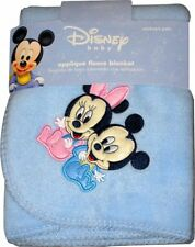 "Disney Babies Mickey Mouse & Minnie Fleece Throw Blanket Blue 36""x 42"" NEW"