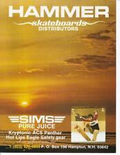 New listing Rare 1978 Hammer Skateboards Sims Skateboard Ad/