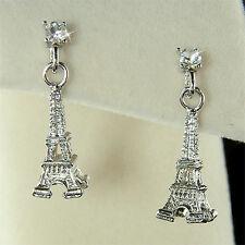 3D France Paris Eiffel Tower w Swarovski Austrian Crystal Post Earrings Xmas New
