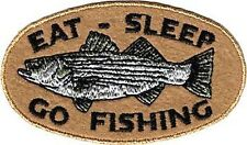 9933 Eat Sleep Go Fishing Striped Bass Animal Funny Humor Silly Iron On Patch
