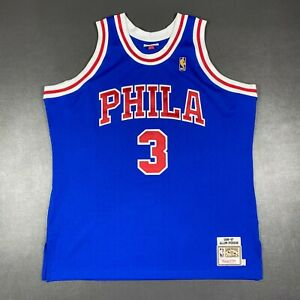 100% Authentic Allen Iverson Mitchell Ness 96 97 Sixers Jersey Size 52 2XL Mens