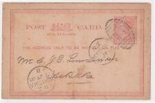 (K96-173) 1886 NZ 1d post card addressed to HOKITIKA (FS)