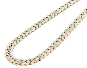 "10k TT Yellow/White Gold Honeycomb Real Diamond Cuban Chain 17.85CT 10MM 21"""