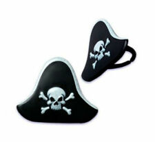 Pirate Hats Jolly Roger cupcake rings (24) favor cake topper 2 doz