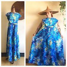 PLUS SIZE Plumeria Print 1960's Vintage 60s Hawaiian Tiki Sundress Gown Dress Xl