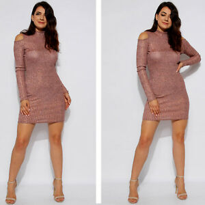 Ladies Metallic Ribbed Bodycon Dress Womens Cold Shoulder Party Fashion Dresses