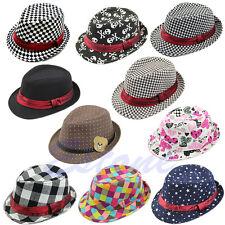Baby Kids Children Trilby Toddler Boys Girls Fedora Jazz Hat Outdoor Cotton Cap