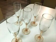 "PEACH STEM & CLEAR BOWL CHAMPAGNE FLUTES - 7-3/4"" TALL - 5 TOTAL"