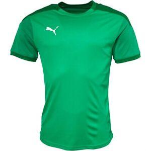 Puma Men T-Shirt Green Team Final Football 21 Training Jersey Sports Shirt Top
