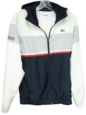 Men's Lacoste Sport Blue White Hooded Windbreaker Jacket Small S