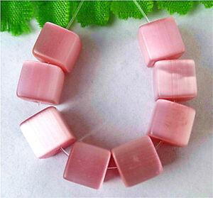 8mm 8Pcs Pink Cat Eye Gemstone Cube Height Hole Pendant Bead BT85201