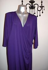 MODA PURPLE EVENING WORK WRAP DRESS SIZE 24 BNWT